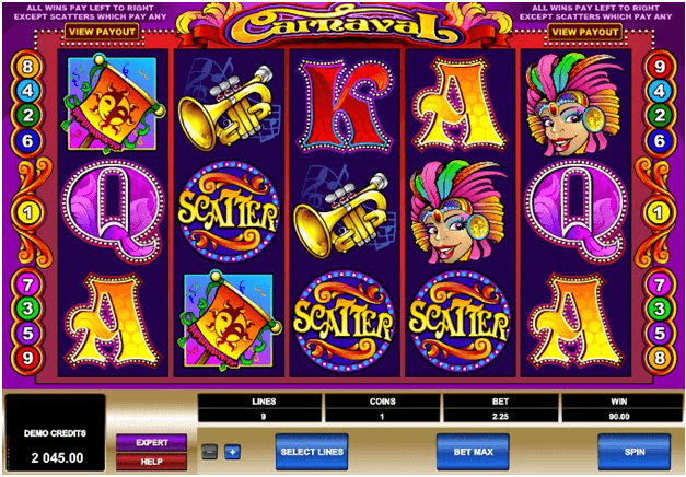 Carnaval pokies from Microgaming