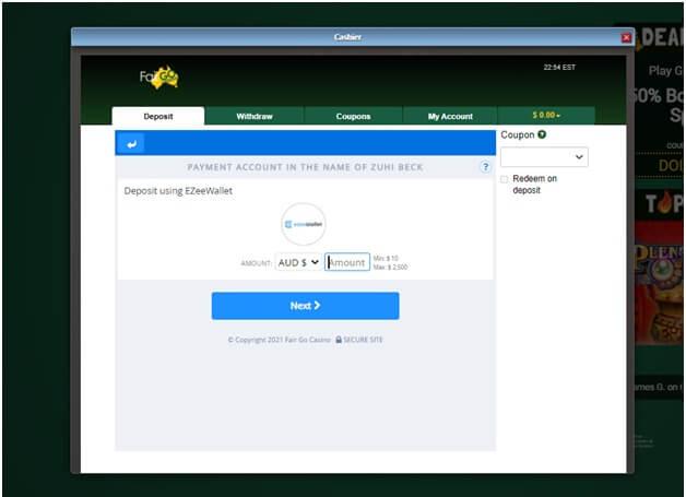 zee wallet fair go deposits page
