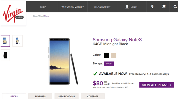Samsung Galaxy Note 8- Virgin Mobile Plans