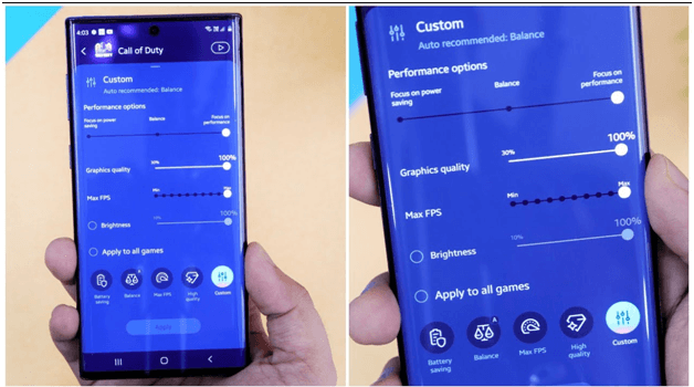 Samsung Game Booster Settings