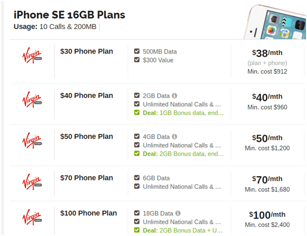 iPhone SE Virgin Mobile Plans