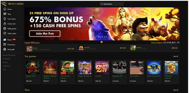 rich casino 675% bonus